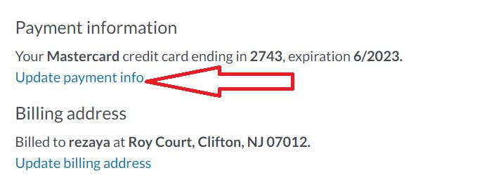 Update payment info